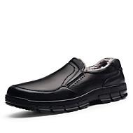 Men's Loafers & Slip-Ons Winter Comfort Formal Shoes Cowhide Casual Flat Heel Gore Black Brown Walking