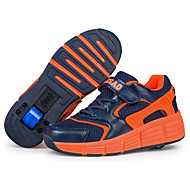 Boy's Sneakers Fall Winter Novelty PU Casual Flat Heel Lace-up Royal Blue Orange Skate Shoes