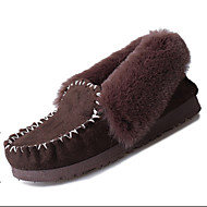 Women's Boat Shoes Fall Winter Comfort Fur Outdoor Casual Flat Heel Black Brown Pink Gray Walking