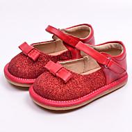 Bez podpatku-Kůže-První botičky-Dívčí-Černá / Červená-Běžné-Plochá podrážka