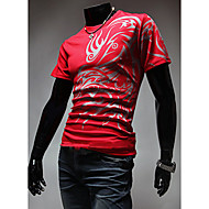 Kortærmet Med stropper Herre Blå / Hvid / Sort / Brun Ensfarvet Simpel Casual/hverdag T-shirt,Bomuld
