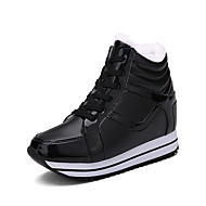 Women's Athletic Shoes Fall Winter Platform Creepers Leatherette Outdoor Casual Athletic Wedge Heel Lace-up Black Red Silver Walking