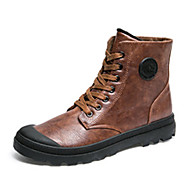Men's Boots Winter Comfort PU Casual Flat Heel Lace-up Black Brown Gray