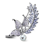 Tender Lavender Brooches accessories with White pearl Platinum plated Pave setting Clear White Cubic zirconia