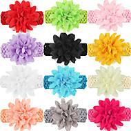 12шт / набор новорожденных девочек шифон цветок оголовье todder аксессуары для волос младенца лента для волос