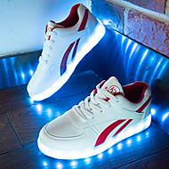 Unissex-Tênis-Conforto Sapatos de Berço Tira no Tornozelo Light Up Shoes-Rasteiro-Preto Vermelho-Couro Ecológico-Ar-Livre Casual Para