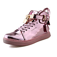 Women's Sneakers Winter Comfort Patent Leather Casual Flat Heel Lace-up Black Pink Silver
