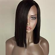 perucas de cabelo sintético resistentes forma natural, cor preta bob reta dianteira do laço sintético peruca de calor