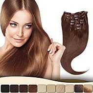 """neitsi® 20 """"7pcs / SET 100% klip rzeczywistym remy ludzkich włosów rozszerzeniach prosto virgin ombre włosów"""