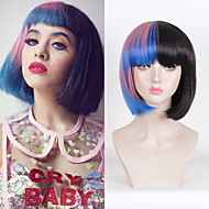 Melanie Martinez Short Straight Half Pink And Black Ombre Blue Heat Resistant Synthetic Wig Short Wig For Women Cosplay Wigs Heat Resistant