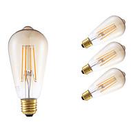 6W E26/E27 Izzószálas LED lámpák ST64 4 COB 550 lm Borostyánsárga Állítható / Dekoratív AC 220-240 V 4 db.