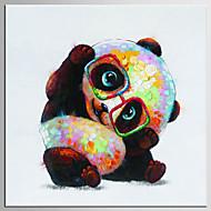 Pintados à mão Abstrato / Animal Pinturas a óleo,Moderno / Clássico 1 Painel Tela Pintura a Óleo For Decoração para casa