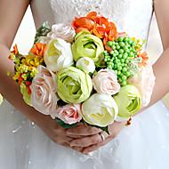 """פרחי חתונה עגול ורדים פרחי אדמוניות זרים חתונה חתונה/ אירוע פוליאסטר סאטן טפטה תחרה ספנדקס פרחים מיובשים אבן ריין 9.84""""(לערך.25ס""""מ)"""