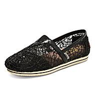 נשים-נעליים ללא שרוכים-תחרה-נוחות-שחור / כסוף / זהב-קז'ואל-עקב שטוח