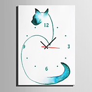 E-HOME® Abstract Blue Cat Clock in Canvas 1pcs