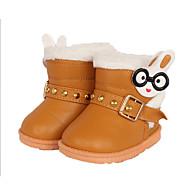 Girls' Boots Winter PU Outdoor Casual Flat Heel Buckle Animal Print Orange Dark Brown Red