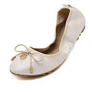 Dame-PU-Flat hæl-Ballerina-Flate sko-Fritid-Sølv / Gull