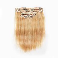 7 pcs / set grampo em extensões do cabelo cor de piano lixívia morango misturado 14inch loira 18inch 100% de cabelo humano para as