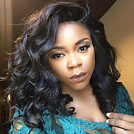syntetiske l del parykker krøllete naturlig svart farge topp kvalitet varmebestandig syntetisk hår parykker for kvinner
