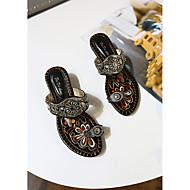 Pantofle a Žabky-PU-Pohodlné-Dámské-Černá / Bílá-Běžné