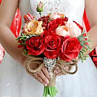 """פרחי חתונה עגול ורדים זרים חתונה / חתונה/ אירוע פוליאסטר / סאטן / טפטה / ספנדקס / פרחים מיובשים / אבן ריין 9.84""""(לערך.25ס""""מ)"""