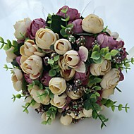 """Wedding Flowers Round Roses Peonies Bouquets Wedding Party/ Evening Satin 9.06""""(Approx.23cm)"""