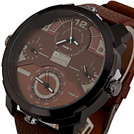 OULM Four Quartz Movt Male Watch leather watch strap Big Round Dial Day for Sports military wristwatch mens gold quartz watch montre homme