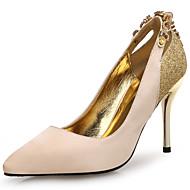 Feminino-Saltos-Inovador-Salto Agulha-Preto Dourado-Couro Gliter Microfibra-Casamento Escritório & Trabalho Social