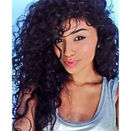아기 머리를 가진 자연 곱슬 헤어 스타일 어두운 검은 색 브라질 처녀 사람의 모발 레이스 정면 가발