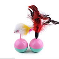 Zabawki dla zwierząt Zabawka z piórkami Szklaneczka Plastik Plusz