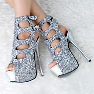 נשים-סנדלים-סינטתי / נצנצים-נעליים ותיקים תואמים-כסוף-חתונה / קז'ואל / מסיבה וערב-עקב סטילטו