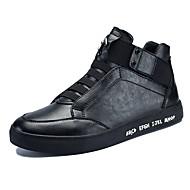 Men's Sneakers Spring Summer Fall Winter Comfort Leatherette Outdoor Office & Career Casual Flat Heel Black Red