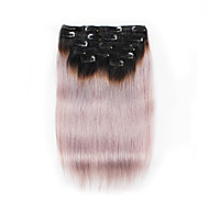 7 יח / להגדיר קליפ תוספות שיער Ombre שחור צבע לאפור שיער אדם 100% 18inch 14inch לנשים