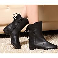Obyčejné-Dámské-Taneční boty-Swing-Kůže-Kačenka-Černá / Červená