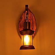 enkelt hoved industrielle vintage retro træ metal maleri farve væglampe til hjemmet / hotel / korridor dekorere væglampe