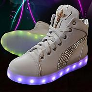 Sneakers-PU-Komfort Babysko Ankelrem Light Up Sko-Unisex-Sort Hvid-Fritid Sport-Flad hæl