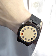 Vintage 12 hole rotating LED lights Watch Wooden Watch Leather Bamboo watches Japan quartz watch Gift idea