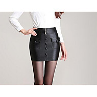 Women's Bodycon Solid Skirts,Casual/Daily Mid Rise Above Knee Zipper / Button PU Micro-elastic Fall / Winter