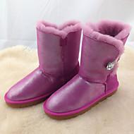 女の子 ブーツ コンフォートシューズ スノーブーツ PUレザー 冬 カジュアル フラットヒール ダークブルー パープル フクシャ レッド ピンク フラット