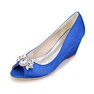 Feminino-SaltosSalto Agulha-Prateado Vermelho Azul Champanhe Ivory-Seda-Casamento Festas & Noite