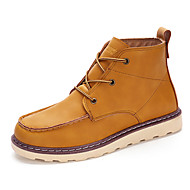 Men's Boots Spring Fall Winter Comfort Leatherette Outdoor Casual Athletic Flat Heel Black Brown Yellow