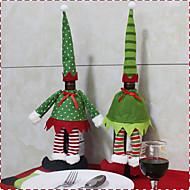 2pc kuuma myynti joulukoristeita joulupukin lumiukko punaviini pullo kansi