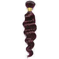 Cabelo Humano Cabelo Indiano Precolored Tece cabelo Ondas Médias Extensões de cabelo 1 Peça Vinho escuro
