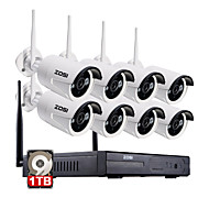 ZOSI®8CH 960P NVR 8pcs 1.3MP Wifi IP Camera Waterproof Home Security Surveillance Kit with 1TB