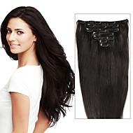 100% real menschliches Haar 7pcs&Klipp 8pcs in den Menschenhaarverlängerungen glattes Haar wie picturs Farben Beauty-Design Salon