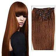 7pcs / grampo 8pcs nas extensões de cabelo brasileiros humanos cabelos lisos para as mulheres 70g - 120g clipe reta extensão do cabelo