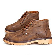 Men's Boots Spring / Fall Comfort PU Casual Flat Heel Lace-up Black / Blue / Brown Sneaker