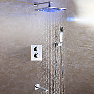 Contemporary Thermostatic Bathroom Shower Faucet / LED 3 Colors Rain Shower Head / Embedded Box Included