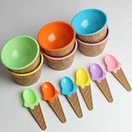 kinderen plastic ijs kommen lepels ingesteld duurzaam ijs cup (willekeurige kleur)