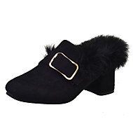 Women's Heels Winter Platform Suede Outdoor Flat Heel Platform Black Green Walking